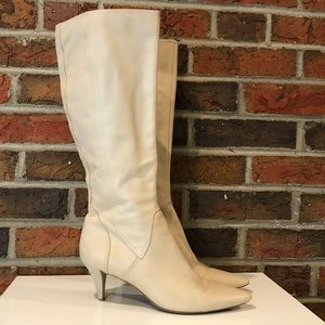Nine West Cream Leather Tall Heeled Boots Size 7